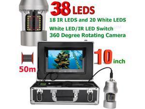 10 Inch 50m Underwater Fishing Video Camera Fish Finder IP68 Waterproof 38 LEDs 360 Degree Rotating Camera