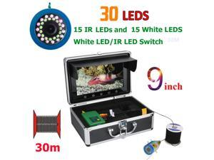 9 Inch 30M 1000TVL Fish Finder Underwater Fishing Camera 15pcs White  LEDs + 15pcs Infrared Lamp For Ice/Sea/River Fishing