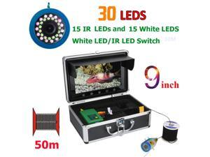 9 Inch 50M 1000TVL Fish Finder Underwater Fishing Camera 15pcs White  LEDs + 15pcs Infrared Lamp For Ice/Sea/River Fishing