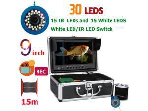 9 Inch DVR Recorder 15M 1000TVL Fish Finder Underwater Fishing Camera 15pcs White  LEDs + 15pcs Infrared Lamp For Ice/Sea/River Fishing