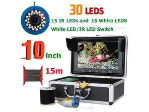 10 Inch 15M 1000TVL Fish Finder Underwater Fishing Camera 15pcs White  LEDs + 15pcs Infrared Lamp For Ice/Sea/River Fishing