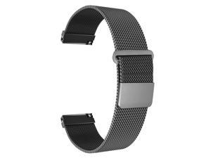 Compatible with Samsung Galaxy Watch 46mm/Gear S3 Frontier/Classic Band, 22mm Stainless Steel Mesh Loop Bracelet Strap Replacement for Ticwatch Pro/Samsung Galaxy Watch 46mm Smartwatch (Black)