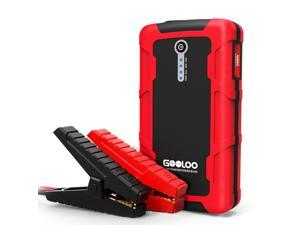 GOOLOO 600A Peak 15000mAh Car Jump Starter (Up to 6.0L Gas or 4.5L Diesel Engine) Portable Power Pack Auto Battery Booster Phone Charger with Dual Quick Charge Output, Built in LED Light, Black/Red