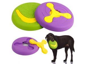 2 in 1 durable dog frisbee, tough training frisbee dog toy, natural non-toxic strong clean chew toy, 9 inch purple/green (2 pack)