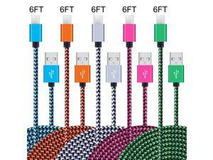 USB Type C Cable 5 Pack 6FT, StyleTech Nylon Braided USB Type A to C Fast Charger Cords for Samsung Galaxy Note 9 8,S8 S9 S10 Plus S10e,Google Pixel,Nexus,LG V30 V20 G6 5