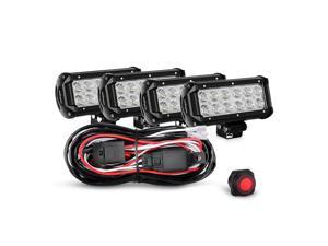 Nilight 4PCS 6.5 Inch 36W Flood LED Light Bar Led Work Light Off Road Driving Light With Off Road Wiring Harness, 2 Years Warranty