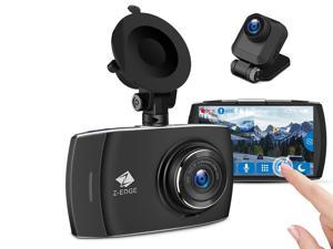 """Z-EDGE T4 Dash Cam, Front and Rear Dual Lens, 4.0"""" Touch Screen Vehicle Camera, 1080P Full HD,  Night Mode, 32GB Card Included (Support Max 256GB), 155 Degree Wide Angle, WDR, G-Sensor, Loop Recording"""