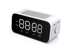 iDeaPlay W15 Digital LED Desk Alarm Clock Qi Wireless Charger Power Bank with Additional Charging Ports - Black Color