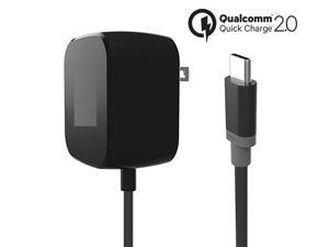 Wall/Travel with Type USB-C for Motorola E4, Moto X/G, and Android Phones-Black