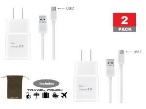 Samsung Wall Charger with USB C High Speed Charge and Sync Cable White 2 Pack