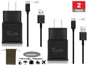 Samsung Wall Charger with USB C High Speed Charge and Sync Cable Black 2 Pack