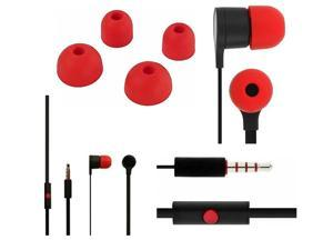 Stereo Headset 3.5 mm for HTC, LG, Huawei Phones with Mic - Black/Red