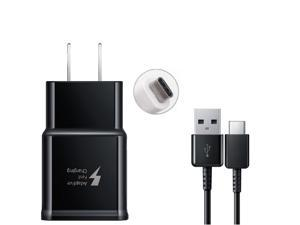 Adaptive Fast Charging USB Wall Charger and USB-C Cable for Samsung Galaxy S8 S9 Plus Note 8 Black