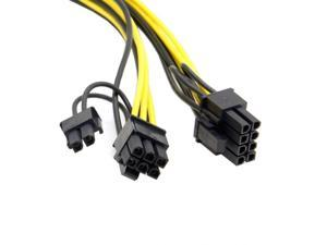 FVH PCI-E PCI Express ATX 6Pin Male to Dual 8Pin & 6Pin Female Video Card Extension Splitter Power Cable PW-185