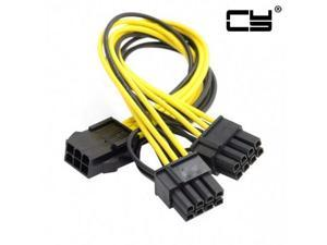 Chenyang PCI-E PCI Express ATX 6Pin Male to Dual 8Pin & 6Pin Female Video Card Extension Splitter Power Cable