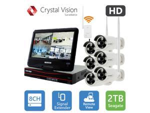Crystal Vision True HD Wireless Surveillance System 2TB Hard Drive All-in-One NVR CCTV with Built-in Monitor, Router, Camera Auto Pair, Night Vision - CVT9608E-3010W