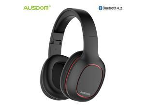 Ausdom M09 Bluetooth Headphone Over-Ear Wired Wireless Headphones Foldable Bluetooth 4.2 Stereo Headset with Mic Support TF Card---Black