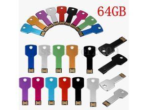 64GB USB 2.0 Metal Thin Key Flash Memory Stick Storage Thumb U Disk Pen Drive