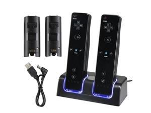 Use Blue LED light Remote Controller Dual Charging Dock Station + 2x 2800mAh Battery Pack With for Wii Best