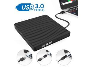 YXwin External CD Drive Type C USB 3.0 Portable CD DVD +/-RW Drive Slim DVD/CD ROM Rewriter Burner Writer Compatible with Laptop Desktop PC Windows Linux OS Apple Mac, Type C - Black