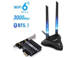 EDUP PCIe WiFi 6 Card for Desktop PC, 3000Mbps 802.11AX Dual Band Wireless Bluetooth 5.1 Adapter with Magnetic Antenna Base, MU-MIMO, OFDMA, Advanced Heat Sink Support Windows 10 64bit