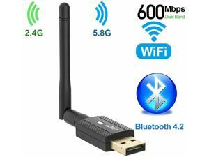 EDUP USB Bluetooth WiFi Adapter AC 600Mbps for PC, Wireless Wi-Fi Dongle Dual Band 2.4G/5.8G with Antenna Support Windows 10/8.1/7 / XP/Vista/Mac OS