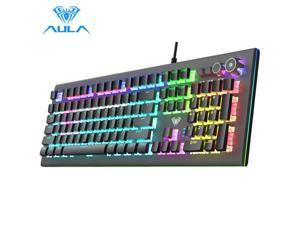 AULA S2096 Gamer Keyboard Mechanical Gaming Keyboard Backlit LED Wired 104 Keys Anti-ghosting Brown Blue Switch for PC Computer