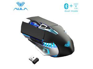AULA SC200 800mAh Rechargeable Bluetooth Wireless Mouse with 3 Modes (BT5.0, BT3.0 and 2.4G) Easy-Switch Up to 3 Devices Ergonomic Mice for Android Tablet Phone PC Laptop - SC200 Black