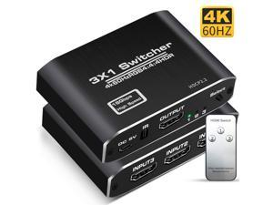 HDMI Splitter, YXwin Aluminum HDMI 2.0 Switch 3 in 1 Out, HDMI Switch with IR Remote Control, Supports HDCP 2.2 4K@60Hz HDR 3D HD1080P, HDMI Switcher for PS4 Xbox Apple TV Fire Stick