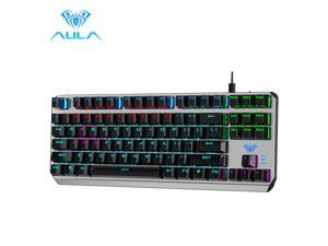 F3087 Gaming Mechanical Keyboard 87 Keys Anti-Ghosting Backlit Keyboard Blue Switch with Type C Cable for Tablet Desktop