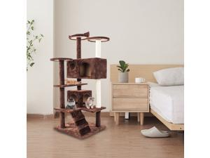 "52"" Scratching Cat Tree Condo Pet Kitten Furniture Activity Center Brown"
