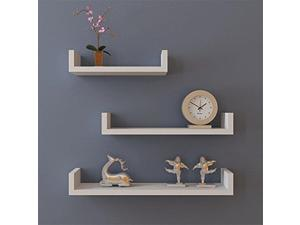 Set of 3 Floating Shelves Bookshelf Wall Mount Shelf Display Home Decor White