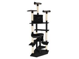 """80"""" Cat Tree Pet Play House Cat Tower Condo Furniture Scratch Post Toy Bed Black"""