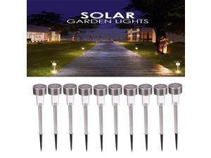LED 10PCS Outdoor Garden Yard Solar Lights Lamp Walkway Path Landscape White