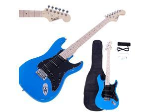 New Glarry ST 22 Frets Burning Fire Basswood Electric Guitar Kit W/Bag Sky Blue