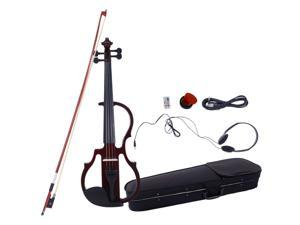 Electric Silent Violin 4/4 Brown Free Case Bow Rosin Headphone Brown
