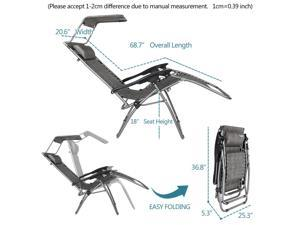 Zero Gravity Chair with Canopy Patio Sunshade Lounge Lawn Chair /w Cup Holder