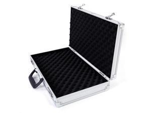 Aluminum Framed Locking Gun Case Pistol HandGun Lock Box Hard Storage Silver