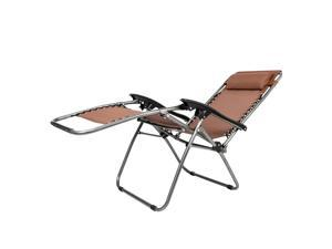 3 PCS Zero Gravity Chair Patio Chaise Lounge Chairs Table Chair Set Brown US