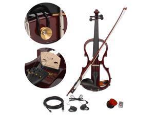 4/4 Electric Silent Violin Set Case Bow Rosin Headphone Line V-002