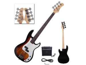 New Sunset 4-String Electric Bass Guitar with 20W Speaker for Beginner
