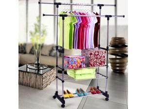 Portable Double Adjustable Heavy Duty Clothes Hanger Rolling Rail 3 Tier Rack