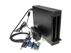 PCI-e x1 to 2 ports PCIe slots Adapter PCI express to PCIe Riser card with Case