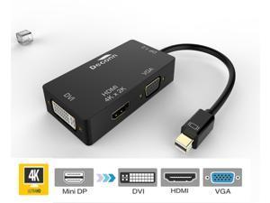 3in1 1.2V Mini DP Thunderbolt to HDMI & VGA & DVI HDTV Cable Converter 4K*2K