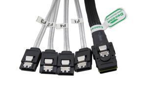 Mini SAS 36P SFF-8087 to 4 SATA 7-PIN HD Splitter Breakout Cable 3ft