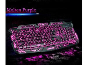 Three Colors Backlight M200 Molten Ergonomic Usb Gaming Keyboard Blue/Red/Purple
