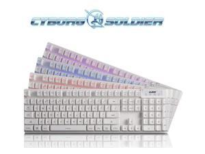 White Three Color LED Ajazz Cyborg Soldier Backlit Ergonomic PC Gaming Keyboard