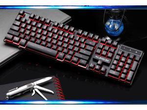 Three Color Backlit Cyborg Soldier Ergonomic Usb Gaming Keyboard Blue/Red/Purple