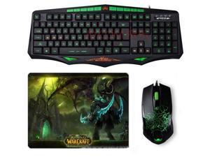 SUNT AK93 Green-Ray Waterproof Backlit Gaming Keyboard + 6D Usb Gaming Mouse SET