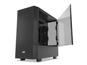 darkFlash V22 Black Mid Tower Computer Case ATX Micro ATX Mini ITX M-ATX with Magnetic Design Wide Open Door Opening Swing Type Tempered Glass Side Panel w/Vertical Graphics Card Installation